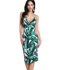 backless dress banana leaf green tropical print sexy women summer dresses