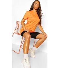 basic long line cotton t-shirt, orange