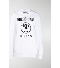 moschino logo-print cotton hoodie
