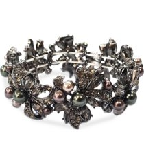 charter club hematite-tone mixed crystal & imitation pearl ribbon cluster stretch bracelet, created for macy's
