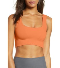 women's free people fp movement karma square neck sports bra, size x-small/small - coral