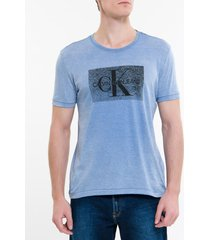 camiseta ckj mc re issue devore - azul escuro - pp