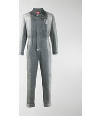 diesel red tag two-tone faded denim jumpsuit