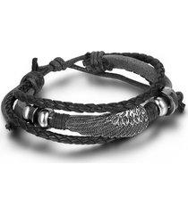 mens leather wrap bracelet vintage angel wing