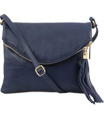 tuscany leather tl141153 tl young bag - borsa a tracolla con nappa blu scuro