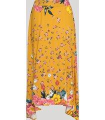 saia feminina midi assimétrica estampada floral com recorte amarela
