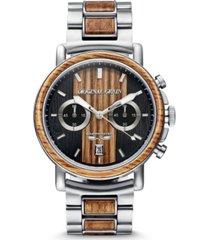 original grain men's reclaimed beer barrel wood brushed steel bracelet watch 44mm