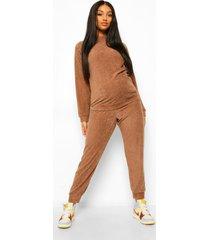 zwangerschaps pyjama set met knopen front en lange mouwen, mocha