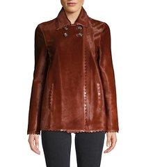 scalloped-trim leather jacket