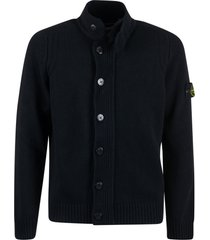 stone island ribbed detail buttoned cardigan