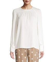 elie tahari women's eliza draped silk blouse - fresh pearl - size xl