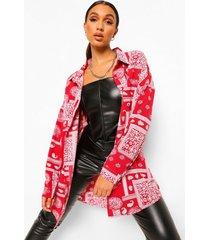 oversized bandana print blouse, red