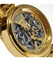stuhrling original men's automatic, gold skeleton dial, gold case, gold stainless steel bracelet