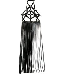 manokhi halterneck fringed leather belt - black