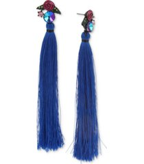 betsey johnson hematite-tone crystal & glitter rose tassel linear drop earrings