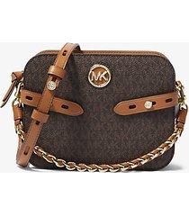 mk borsa a tracolla carmen grande con logo - marrone - michael kors