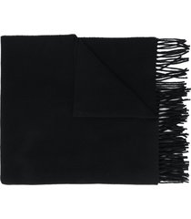 moncler logo-patch fringed winter scarf - black