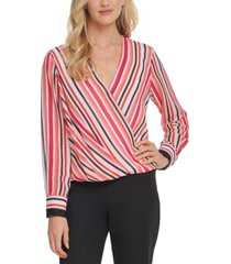 dkny striped surplice-neck top