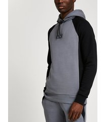 river island mens grey rvr colour block muscle fit hoodie
