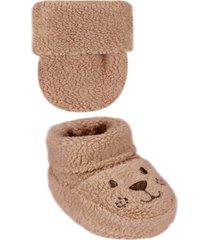 conjunto luva e sapatinho ursinho pelãºcia - marrom - dafiti