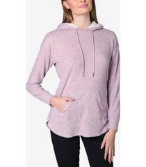 ultra flirt juniors' faux-sherpa trimmed knit hoodie