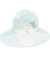 maison michel logo mesh fedora hat - blue
