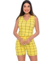 macaquinho b'bonnie dulce xadrez amarelo
