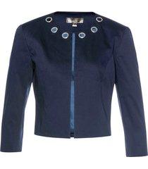 blazer corto con occhielli (blu) - bpc selection
