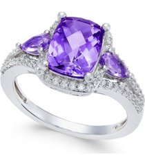 amethyst (1-3/4 ct. t.w.) and white topaz (1/4 ct. t.w.) ring in sterling silver