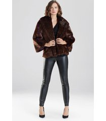 natori leopard faux fur jacket, women's, purple, size l natori
