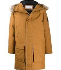 calvin klein loose-fit logo patch parka coat - brown