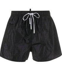 dsquared2 short de natação com estampa monogramada - preto