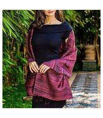 silk and cotton blend batik shawl, 'romance in cranberry' (thailand)