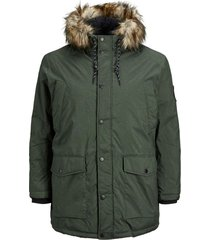 jack & jones parka groen melange plus size
