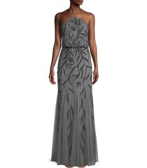 aidan mattox women's halterneck beaded gown - slate - size 0