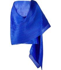 pleats please issey miyake crinkled wraparound top - blue