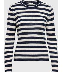 sweater jacqueline de yong blanco azul - calce regular