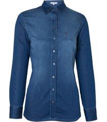 camisa dudalina manga longa jeans básica stretch feminina (jeans escuro, 50)