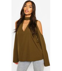 choker plunge cold shoulder top, khaki
