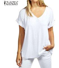 zanzea moda verano t camisas manga corta nueva floja ocasional tes de las tapas más el tamaño de cuello en v camisetas -blanco