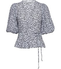 printed crepe blouses short-sleeved ganni
