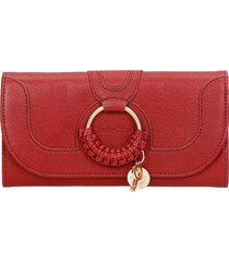 see by chloé hana wallet in bordeaux leather
