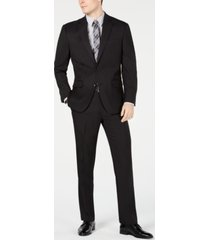 club room men's classic-fit stretch black pindot suit, created for macy's