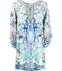 camilla wings of luxor short kaftan dress - blue