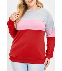 plus size drop shoulder hit color sweatshirt