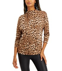 inc animal-print funnel-neck top, created for macy's