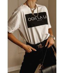 biały t-shirt z logo ooh la la