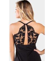 cristlin lace back jumpsuit - black