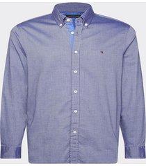 camisa th flex corte slim azul tommy hilfiger