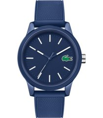 lacoste men's 12.12 blue silicone strap watch 42mm